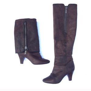 Frye convertible zip up leather boots dark brown